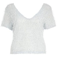 Light blue fluffy V neck top - t-shirts - tops - women