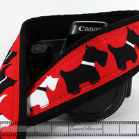 dSLR Camera Strap, Scottie Dog, Pocket, Scottish Terrier, Red White Black, SLR, 73