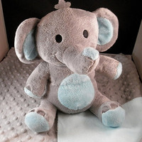 Dog - Puppy - Squeaker Toy & Blanket - Cuddle Critter Elephant - Puppy Toy and Blanket - Includes Embroidered Personalization