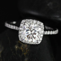 Petite Catalina 14kt White Gold Cushion FB Moissanite and Diamond Halo Engagement Ring (Other metals and stone options available)