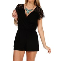 Black Lace Wrap Front Romper
