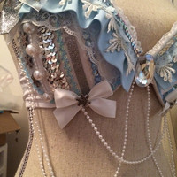 34C white and blue winter wonderland rave bra