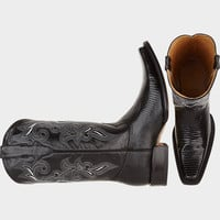 BELVEDERE ALEX BLACK LIZARD SKIN COWBOY DRESS BOOTS