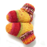 Yellow and red newborn socks, stripes and spots fun socks, thin wool baby booties that stay on, handknit, READY TO SHIP