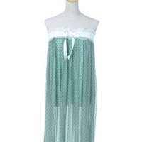 Anna-Kaci S/M Fit Teal Green Loungewear Inspired Baby Doll Semi Sheer Dress