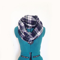 Navy & Green Tartan Plaid Infinity Scarf Campbell