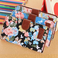 OMIU(TM) Flower Floral Style Wallet Flip Magnet Stand Leather Case Cover with Credit Card Holder for Samsung Galaxy Note 3 N9000(Black), with Screen Protector, Stylus and Cleaning Cloth