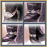 Spruce Up Your Boots! Beaded Boot Bracelet w Blue Cat's Eye, Silver Plated Filigree and Redline Marble; Boot Jewelry, Western Wear