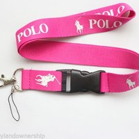 Polo RL Keychain Holder Lanyard Sports Bright Pink w White Pony Logo NEW ITEM