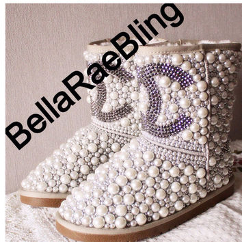 Custom pearls and crystal uggs