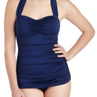 Esther Williams Nautical Halter Bathing Beauty One-Piece Swimsuit in Navy