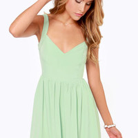 Tie by Night Backless Mint Green Dress