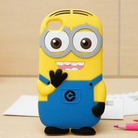 abaopoker(TM) Cute Popular Despicable Me 2 Minions Rubber Soft Silicone Phone Cover Case for iPhone 5 5G 5S Blue Two Eyes