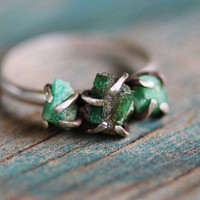 Triple Raw Emerald Sterling Silver Ring  Size 65 by GATHERJEWELRY