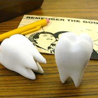 Tooth-Shaped Set of Two Fun Erasers, Fun & Unique Gifts