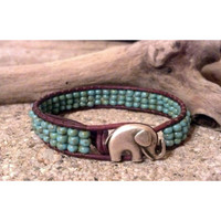 Elephant GOOD LUCK Leather Wrap Bracelet, Friendship, Southwestern Chic