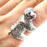 Large Three Toed Sloth Shaped Animal Wrap Ring in Shiny Silver | US Sizes 4 to 9 -