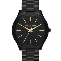 Michael Kors Mid-Size Black Stainless Steel Runway Three-Hand Watch