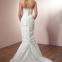 Trumpet/Mermaid Strapless Chiffon Chapel Train Wedding Dress - Basadress.com