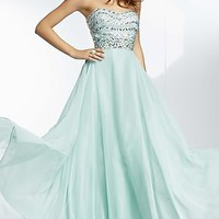Beaded Strapless Prom Gown by Mori Lee