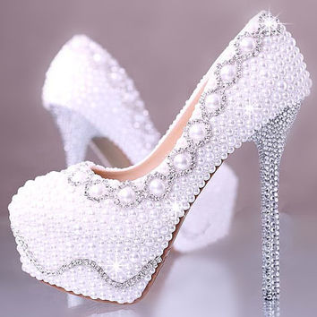 high heels unique bling crystal pearl wedding shoes bridal shoes