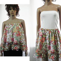 White Floral Ruffled Skirt - Layered Short Skirt Tiered Skirt for Woman - Fashion Clothing for Woman