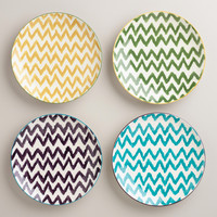 PAINTERLY CHEVRON PLATES, SET OF 4