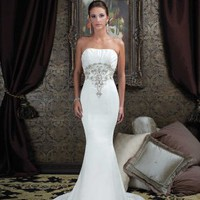 Mermaid Strapless Chapel Train Beaded Embroidery Satin Bridal Dress - Basadress.com