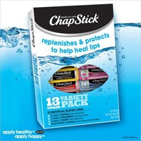 Chap Stick Lip Balm Variety Pack Assorted Flavors Original, Strawberry, Moisturizer, Plus 2 Cherry (Pack of 13)