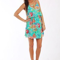 Hawaiian Tropics Dress, Turq