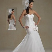 Satin Strapless Sweetheart  Chapel Train 2012 Trumpet Wedding Dress - Basadress.com