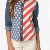 Urban Outfitters - BDG American Flag Chambray Button-Down Shirt customer reviews - product reviews - read top consumer ratings