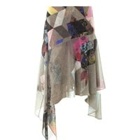 Tile-print silk skirt