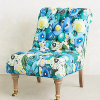 Floral Print Orianna Slipper Chair by Anthropologie Blue Motif One Size Wall Decor