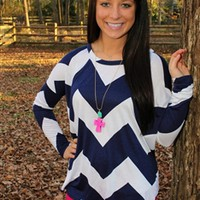 Linda Grace Chevron Top - Navy