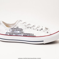 Silver Sequin Canvas Converse All Star Low Top Sneakers Shoes