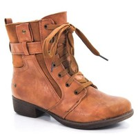 Apex06 Women's Ankle Boot Lace-Up Booties Studs Mixed Material New