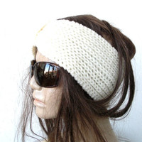 Hand Knit Headband - Turban Hat Headband-Vintage Look headband- Womens Headband- Spring Fashion - Mothers Day Gift- İvory white