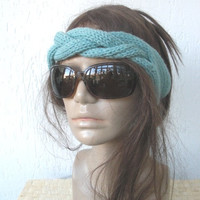 Hand Knit Headband -Braided headband - Turban Hat Headband- Womens Headband- Mint green Spring Fashion - Mothers Day Gift