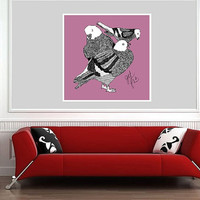Fat Pigeons Art Print - Home Decor Nursery & Kids Room Art - Square Giclee Archival Print - Purple Pigeons Drawing