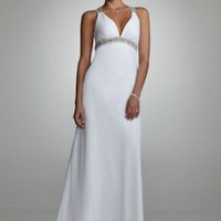 David's Bridal Wedding Dress: Beaded Tank Gown with Back Detail Style D0216
