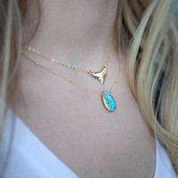 Niho Mano necklace - small gold shark tooth necklace, gold triangle necklace, shark pendant necklace, hawaii jewelry, summer jewelry