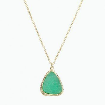 Geo Stone Necklace Small in Jade - ShopSosie.com