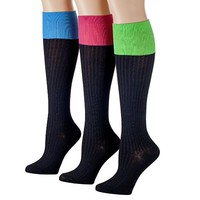 Tipi Toe Women's 3-Pack Colorful Ribbed Knee High Socks (KH923--RIB)