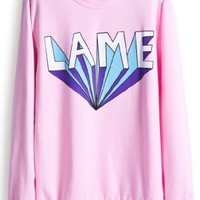 Sheinside Women Pink Long Sleeve Lame Print Casual Sweatshirt Jumper