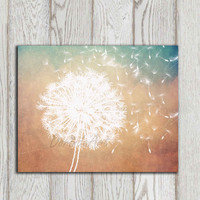 Dandelion poster print Dandelion Wall art printable Copper gold brown Home decor Teal Bedroom Modern Abstract Flower art INSTANT DOWNLOAD