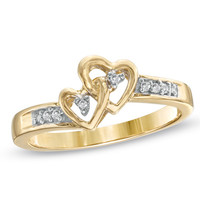 Diamond Accent Double Heart Promise Ring in 10K Gold