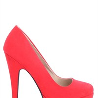 Round Toe Red Platform Pump