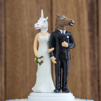 Blushing Bridle Wedding Cake Topper