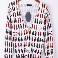 Shoes Print Button-up Cardigan